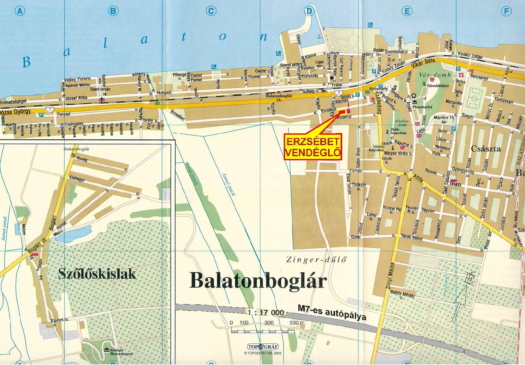 balatonboglár térkép Erzsebet vendeglo balatonboglár térkép